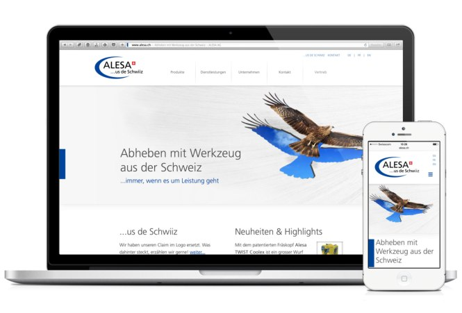Alesa-Website auf Laptop und iPhone 5