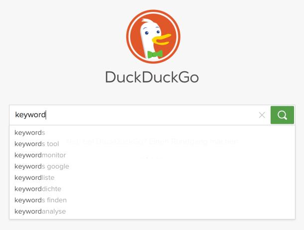 Keyword-Vorschlaege auf DuckDuckGo