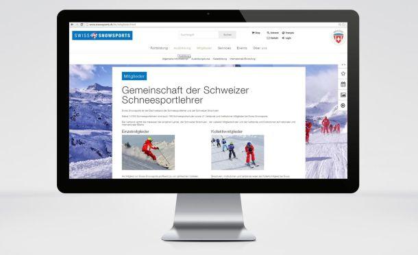 Grosser Bildschirm, im Browser die Mitglieder-Seite, Titel: Gemeinschaft der Schweizer Schneesportlehrer