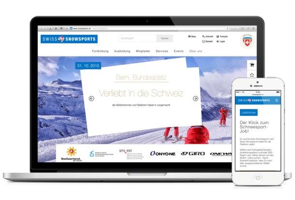 www.snowsports.ch auf Laptop und Smartphone (Homepage bzw. Jobbörse)