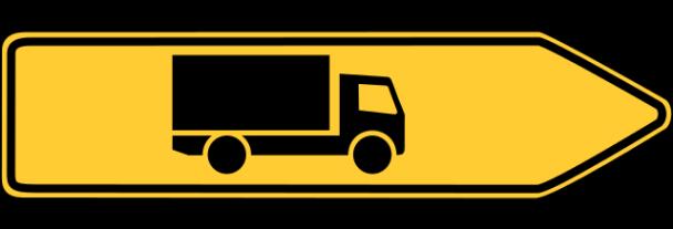 Verkehrsschild, Pfeil nach rechts mit LKW