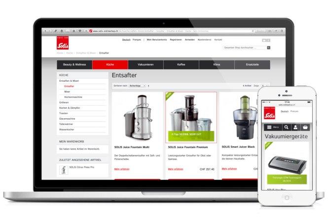 Solis-Onlineshop auf Laptop und auf iPhone 5