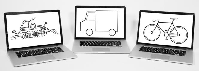 Drei Laptops, auf dem Bildschirm: Pistenfahrzeug, Lieferwagen, Velo