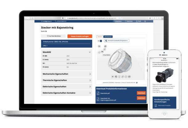 Produktseite mit CAD-Ansicht in 3D