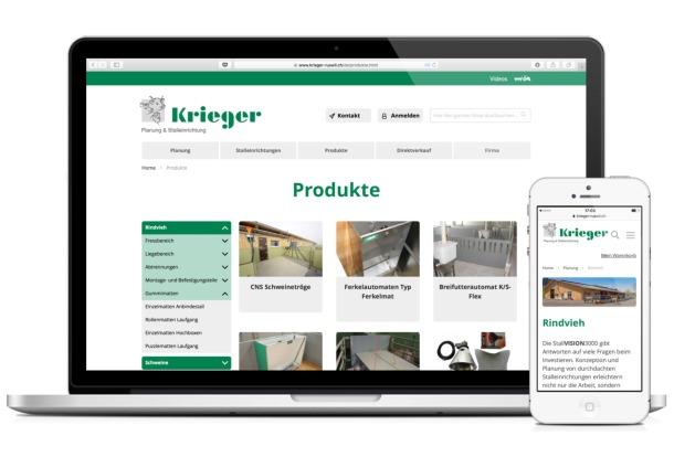 E-Katalog Krieger AG, Ruswil, auf Laptop und Smartphone