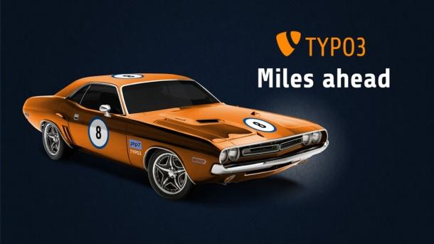 Sportwagen (Dodge Charger RT) mit Aufklebern: Nr. 8, php7, TYPO3