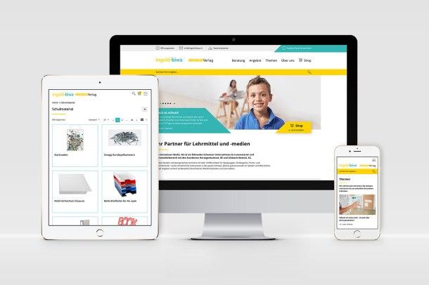 Responsive Website www.ingold-biwa.ch auf unterschiedlichen Geräten dargestellt.