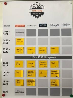 Sessionplan am Sonntag des TYPO3camp Zentralschweiz 2018